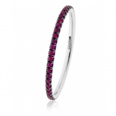 Petite Natural Ruby Full Eternity Ring, 18k White Gold