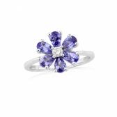 Tanzanite & Diamond Flower Ring in White Gold