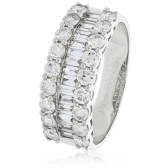 Diamond Baguette Half Eternity Ring 1.50ct, 18k White Gold