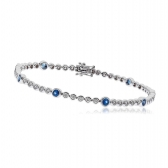 Diamond & Sapphire Tennis Bracelet 2.75ct, 18k White Gold