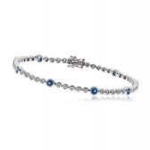Diamond & Sapphire Tennis Bracelet 2.75ct, 18k White Gold