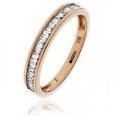 Diamond Baguette Half Eternity Ring 0.25ct, 18k Rose Gold