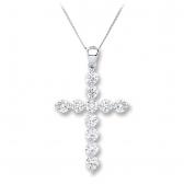 Diamond Cross Necklace 0.70ct, 18k White Gold