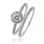 Diamond Halo Bridal Ring Set 0.60ct, 18k White Gold