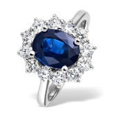 Oval Cut Royal Blue Sapphire Ring with Diamonds, 3.30ct. Platinum