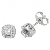 Diamond Cluster Stud Earrings 0.26ct, 9k White Gold