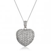Diamond Pavé Heart Pendant 1.45ct, 18k White Gold