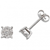 Diamond Studs Illusion Set 0.26ct, 9k White Gold
