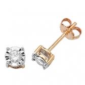Diamond Illusion Set Stud Earrings 0.20ct, 9k Gold