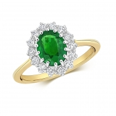 Oval Emerald Ring with Diamond Surround, 1.60ct, 9k Gold