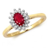 Oval Ruby Ring with Diamond surround, 0.58ct, 9k Gold