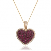 Ruby & Diamond Pave Heart Pendant Necklace 2.10ct