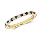 Sapphire & Diamond Half Eternity Ring 0.30ct, 9k Gold