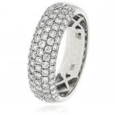 Diamond Pave Half Eternity Ring 1.00ct, 18k White Gold