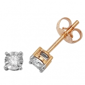 Diamond Illusion Set Stud Earrings 0.10ct, 9k Gold