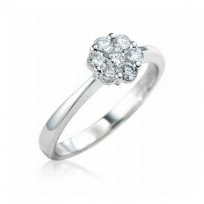 Diamond Cluster Engagement Ring 0.40ct, 18k Gold