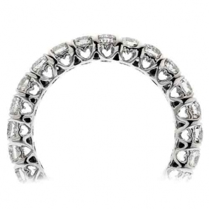 Diamond Eternity Heart Ring 2.00ct, 18k White Gold