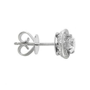 Diamond Halo Stud Earrings 1.24ct, 18k White Gold
