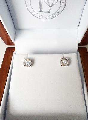 Diamond Illusion Set Stud Earrings 0.25ct, 9k White Gold
