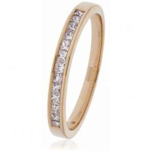 Diamond Princess Half Eternity Ring 0.50ct, 18k Rose Gold