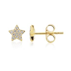 Diamond Star Earrings 0.12ct, 9k Gold