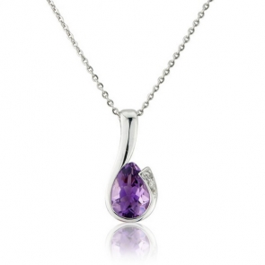 Diamond and Amethyst Drop Pendant Necklace, 9k White Gold