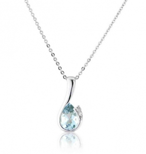 Diamond and Aquamarine Drop Pendant Necklace, 9k White Gold