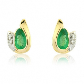 Diamond and Emerald Pear Cut Earrings, 9k Gold