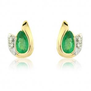 Diamond and Emerald Pear Cut Earrings, 9k Gold