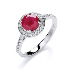 Diamond & Ruby Halo Ring 0.85ct, White Gold