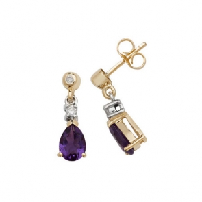 Amethyst & Diamond Pear Drop Earrings, 9k Gold