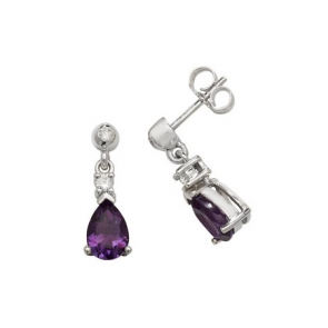 Amethyst & Diamond Pear Drop Earrings, 9k White Gold