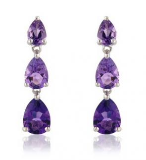 Pear Cut Amethyst Drop Earrings, 9k White Gold