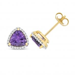 Amethyst & Diamond Trillion Stud Earrings, 9k Gold