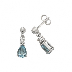 Aquamarine & Diamond Pear Drop Earrings, 9k White Gold