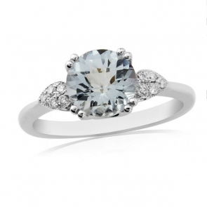 Aquamarine & Diamond Ring 1.26ct, 9k White Gold