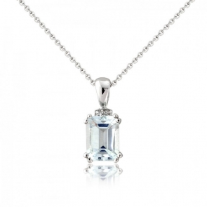 Aquamarine & Diamond Drop Pendant Necklace, 9k White Gold