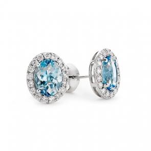 Aquamarine & Diamond Earrings 2.59ct, 18k White Gold