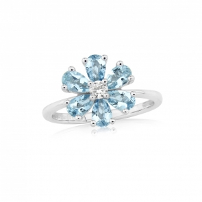 Aquamarine & Diamond Flower Ring in White Gold