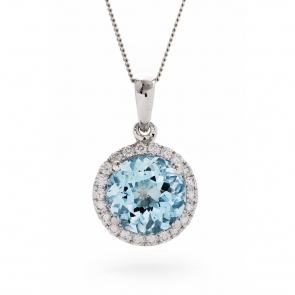 Aquamarine & Diamond Pendant 1.93ct, 18k White Gold