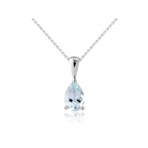 Aquamarine Pear Drop Pendant Necklace, 9k White Gold