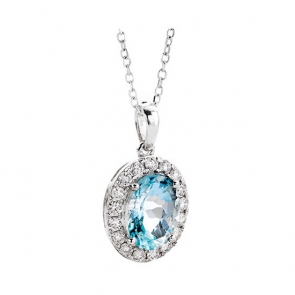 Aquamarine & Diamond Pendant 1.30ct, 18k White Gold