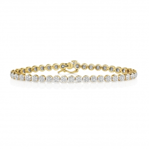 Diamond Cluster Tennis Bracelet 1.00ct, 9k Gold