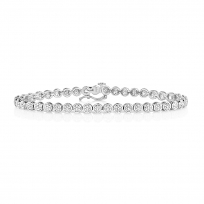 Diamond Cluster Tennis Bracelet 1.00ct, 9k White Gold