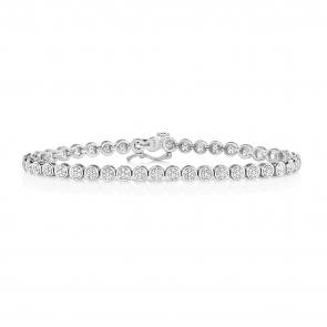 Diamond Cluster Tennis Bracelet 1.00ct, 9k White Gold