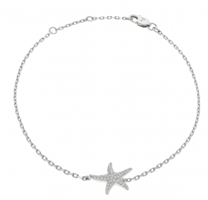 Diamond Starfish Pendant Bracelet 0.25ct, 18k White Gold