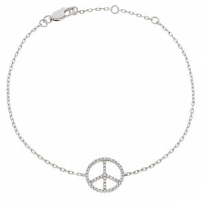 Diamond Peace Pendant Bracelet 0.18ct, 18k White Gold