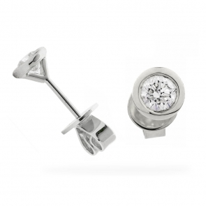 Diamond Stud Earrings Bezel Set 0.20ct, 18k White Gold