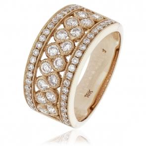 Diamond Pave Dress Ring 1.00ct, 18k Rose Gold