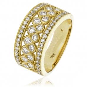 Diamond Pave Dress Ring 1.00ct, 18k Gold